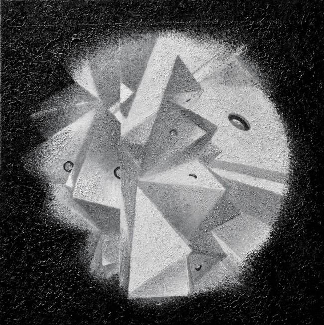 Crystal 4, 2014, photo, oil on canvas, 50x50 cm