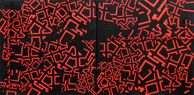 Dodeca, 2011, Painting-installation 2, photo, oil on canvas, 100x200 cm