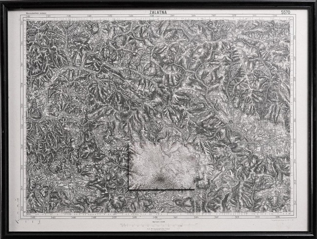 Map 1,1994, map, oil on glass, 50x70 cm