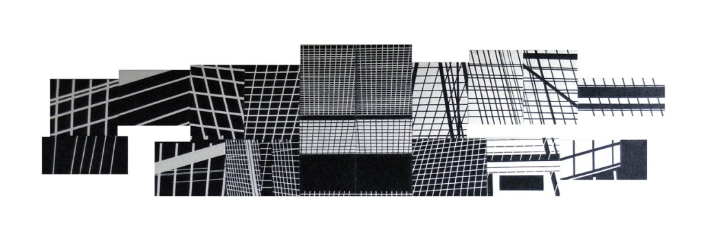 Monochrome Clack 2, 2010, Painting-installation, photo, oil on canvas, 80x340 cm