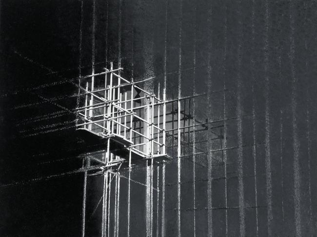 Shadows of Budapest 10, 1997, photo, oil on canvas, 80x100 cm