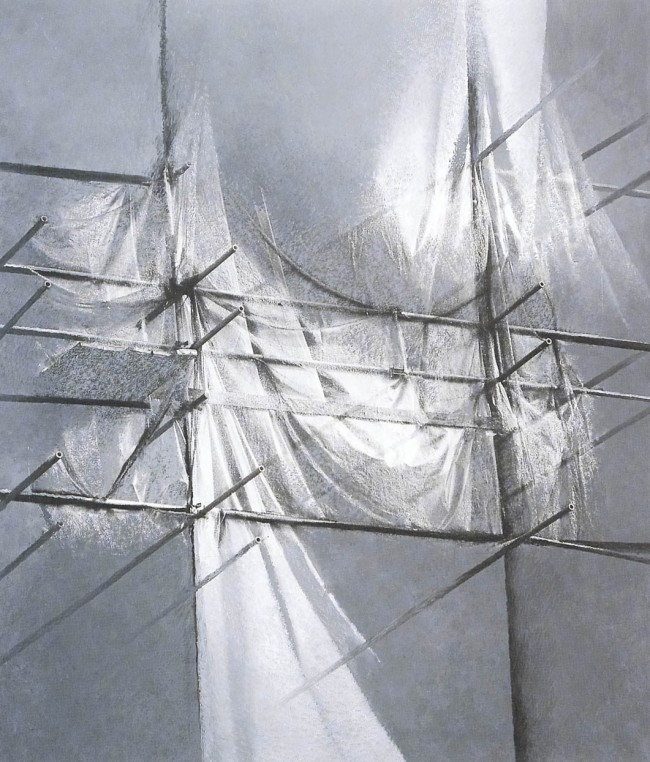 Shadows of Budapest 11, 1997, photo, oil on canvas, 160x130 cm