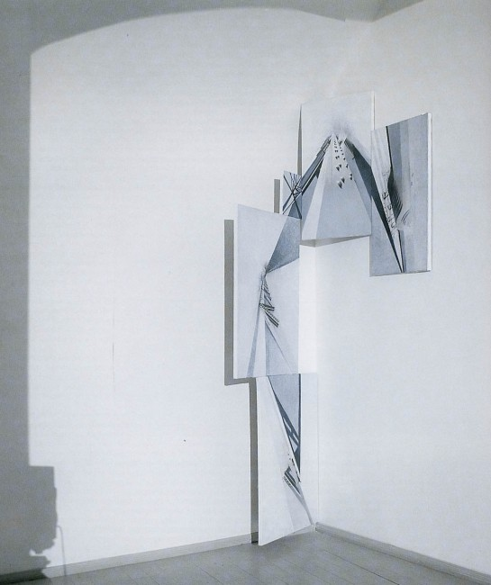 Shadows of Budapest, 1997, Painting-installation 3, photo, oil on canvas, 240x160 cm