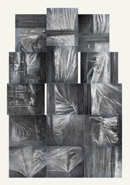 Symptom, 2015, Painting-installation 1, photo, oil on canvas, 270x180 cm